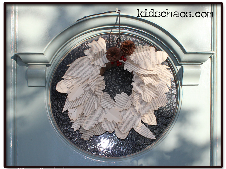 KidsChaos-book-paper-wreath-front-door