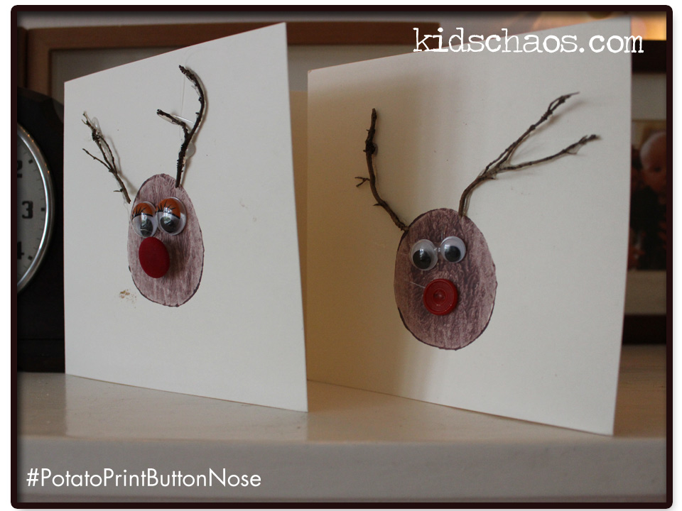 Christmas Cards - Button Nose Rudolph - KidsChaos.com