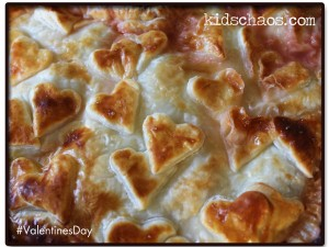 Valentine's Day Plum Pie recipe hearts