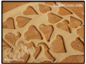 Hearts cut from the pastry