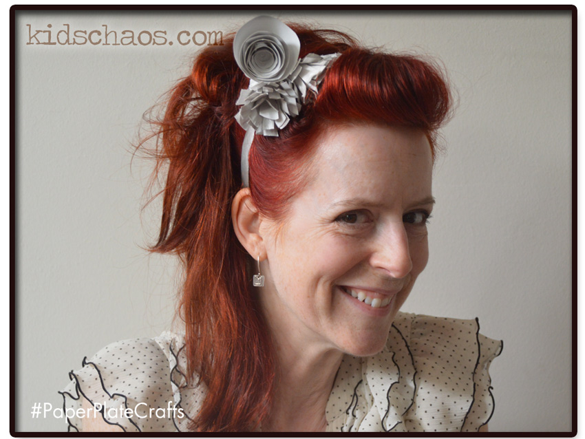 Paper plate flower crafts fascinator