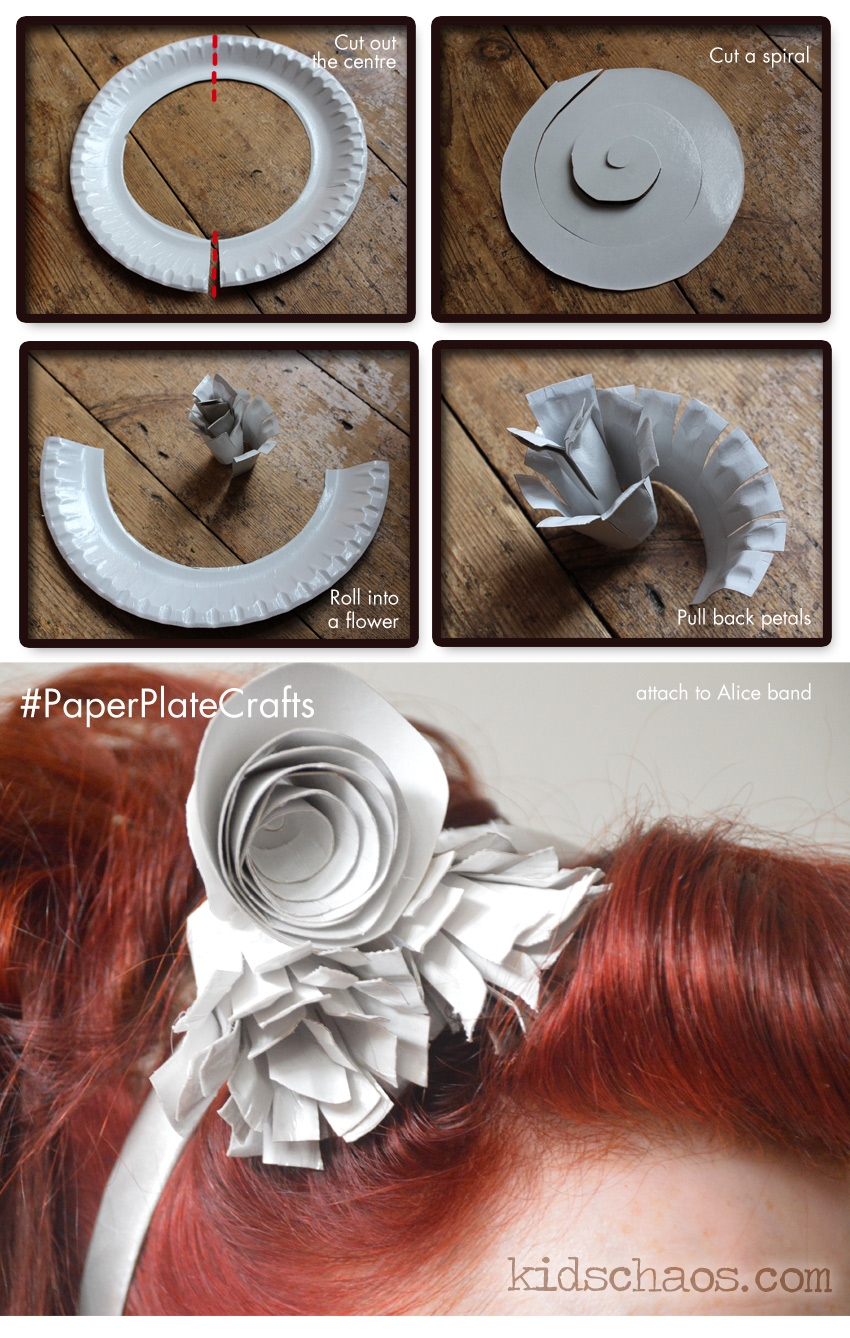 Paper plate flower crafts fascinator how to
