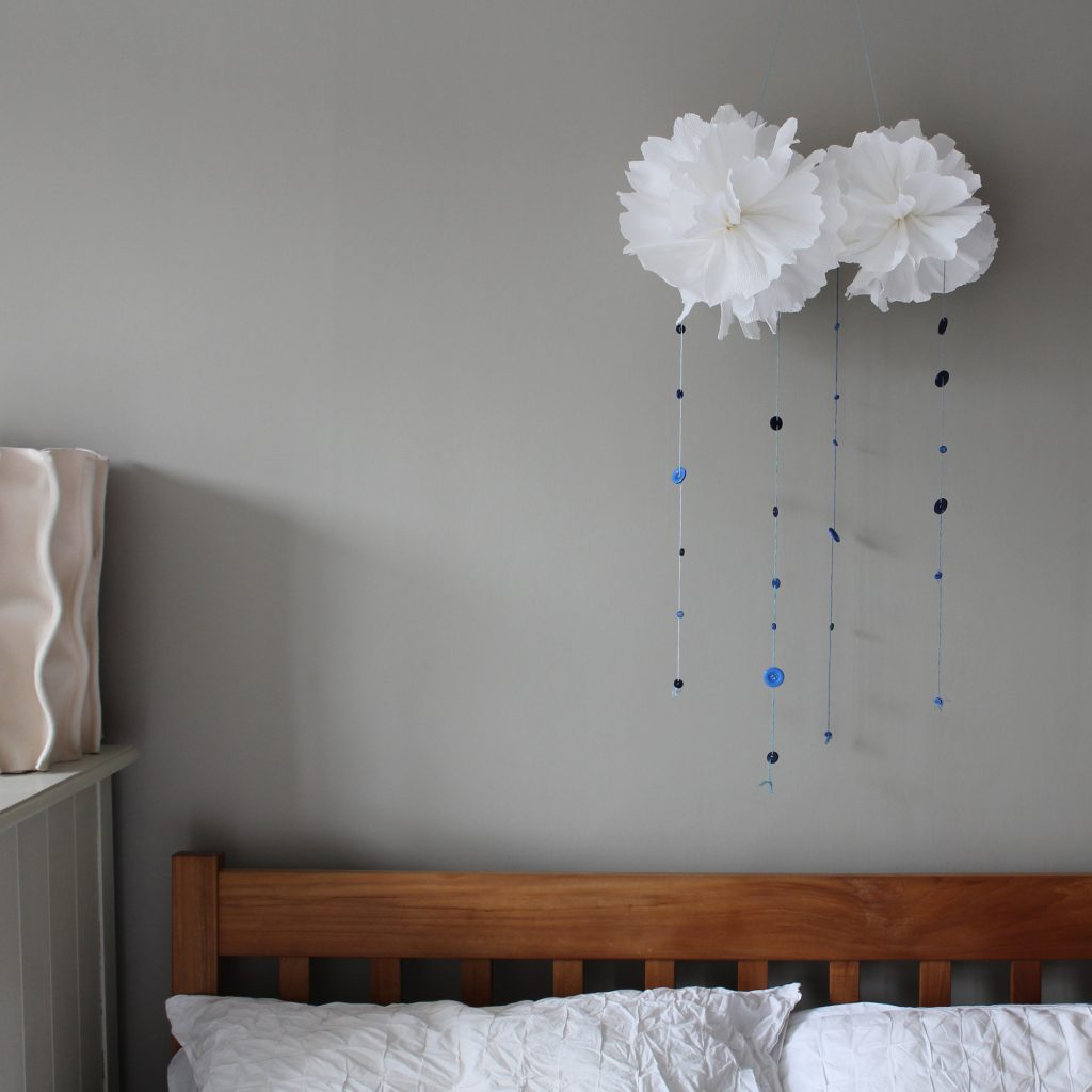 Button crafts – Giant pom pom clouds