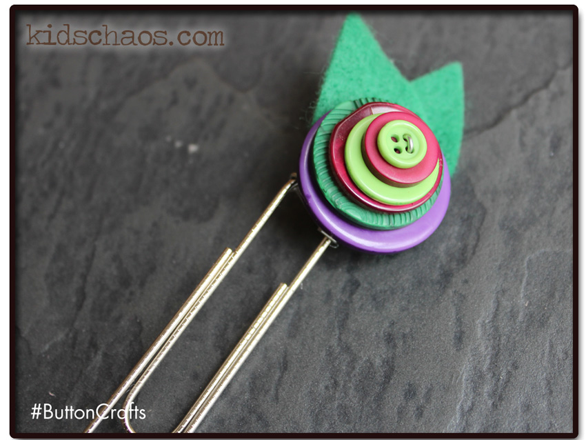 Button craft paperclip book mark
