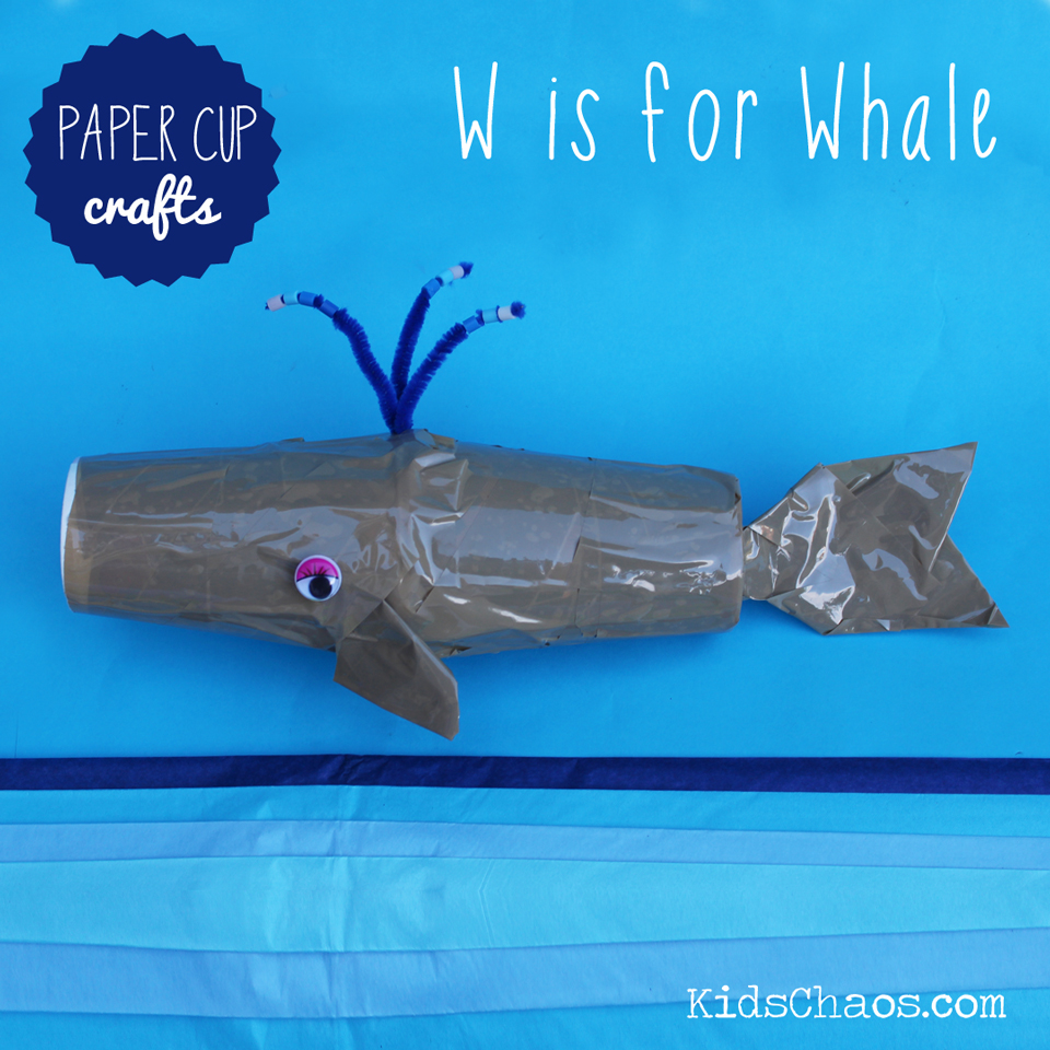 W is for Whale paper cup craft