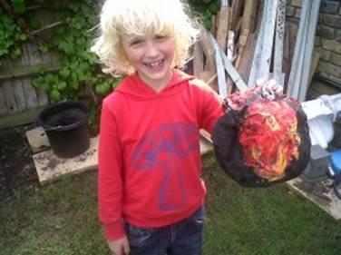 KidsChaos PaperMache disaster meteorite age 7