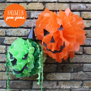 Witch and Pumpkin Halloween Pompoms