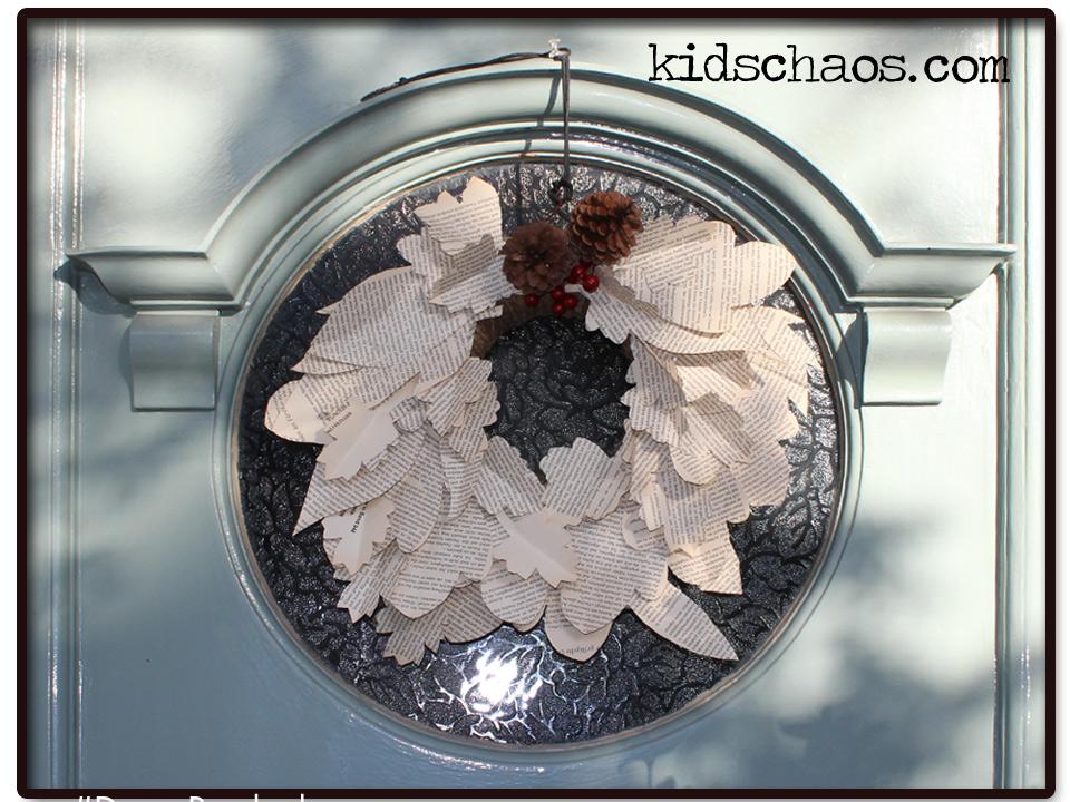 KidsChaos-book-paper-wreath-front-door