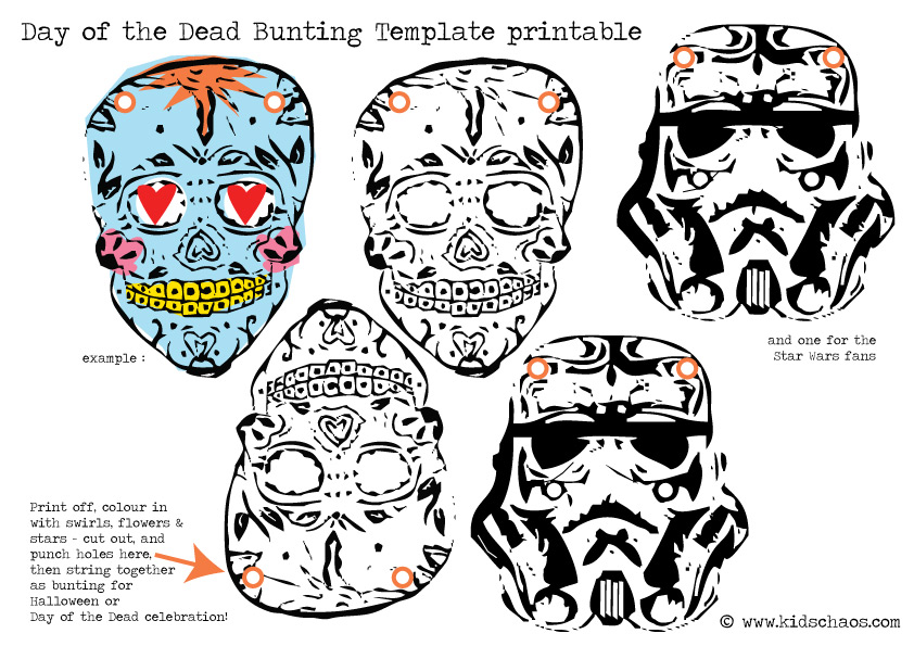 Day of The Dead skull bunting FREE printable - KidsChaos.com