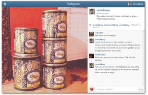 Instagram screengrab of Tate and Lyle tins for honeycomb recipe
