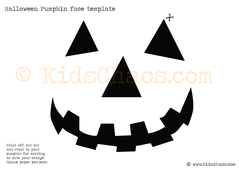 Halloween pumpkin paper pom pom free printable for Pumpkin mouth template