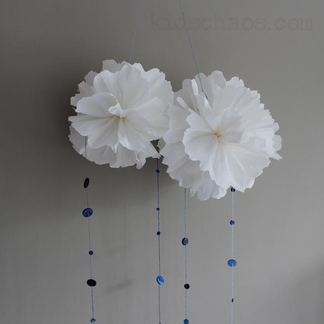 paper pom-pom clouds