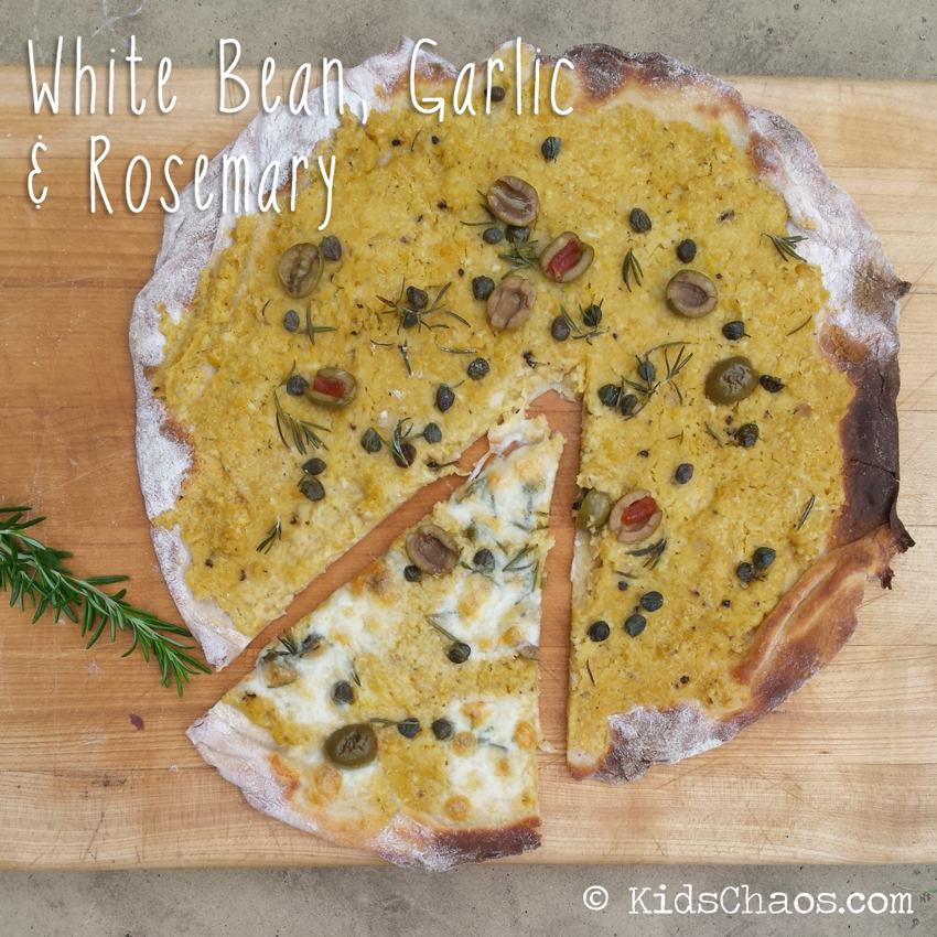 pizza with bean garlic rosemary