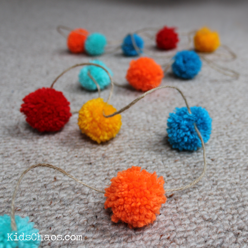 pom pom garland close up