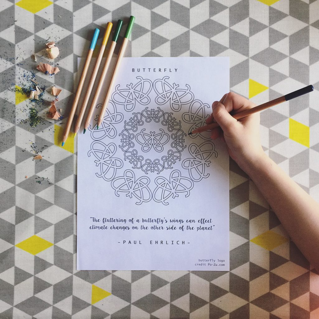 FREE downloadable Butterfly Mandala colouring sheet