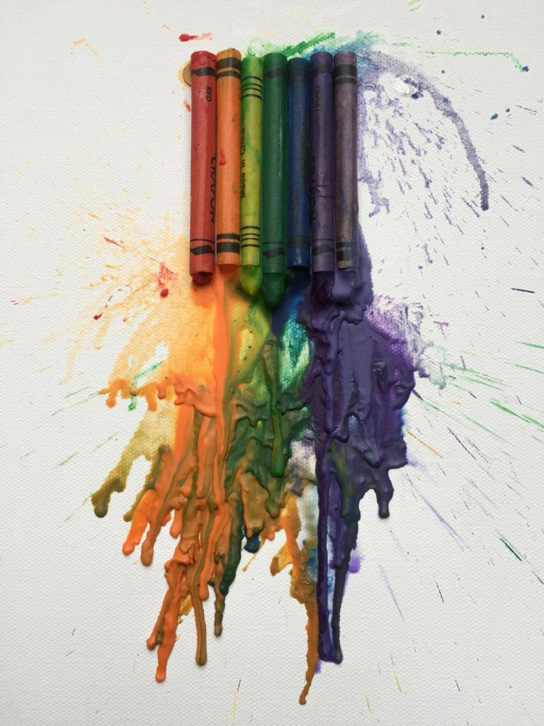close-up-melted-crayons-on-canvas